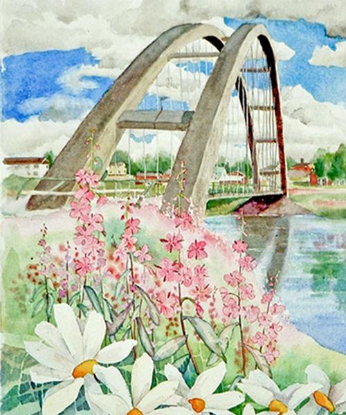 Bågbron i Tärendö. Målning av Stefan Nylén.